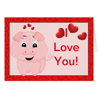 Cerdo y corazones rosados lindos te amo tarjeta