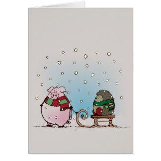 Cerdo y erizo con las bufandas tarjeta de felicitación