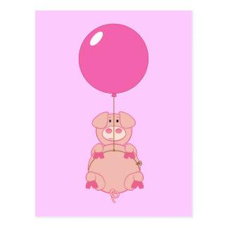 Cerdo y globo lindos del vuelo postal