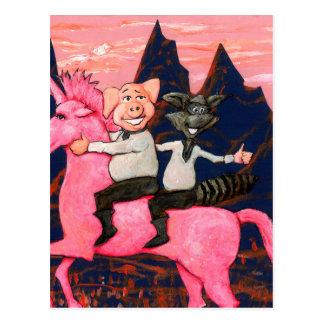 Cerdo y mapache en un icorn rosado de la O.N.U Postal