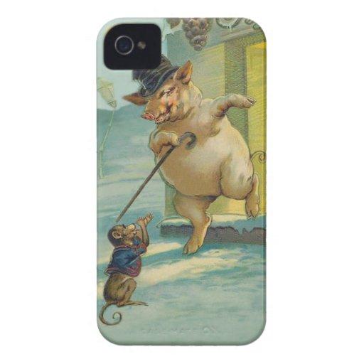 Cerdo y mono lindos - animales divertidos del vint iPhone 4 protector