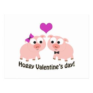 Cerdos del día de San Valentín de Hoggy Postal