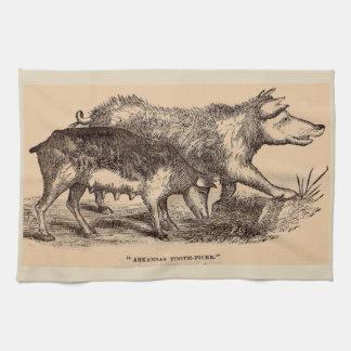 Cerdos del siglo XIX del estampado de animales de Paño De Cocina