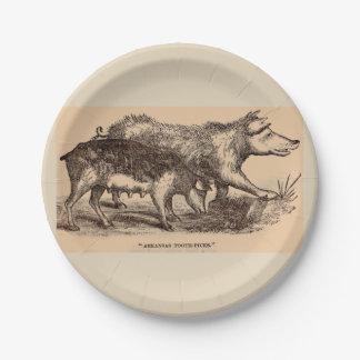 Cerdos del siglo XIX del estampado de animales de Plato De Papel