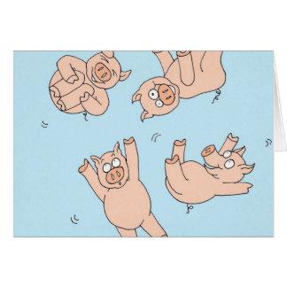 Cerdos del trampolín tarjeta de felicitación