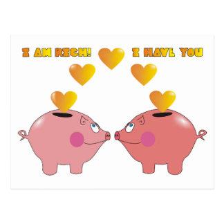 Cerdos divertidos del dibujo animado en postal de