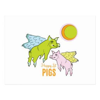 Cerdos felices postal