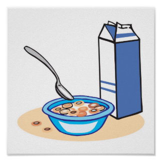 cereal y leche póster