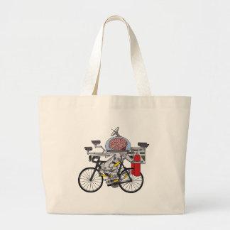 Cerebro de la bici (ciclista del año 3000) bolso de tela gigante