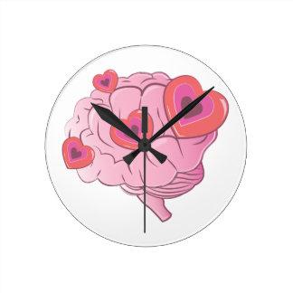Cerebro del amor reloj redondo mediano