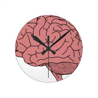 Cerebro humano reloj redondo mediano
