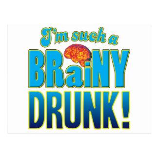 Cerebro inteligente borracho tarjeta postal