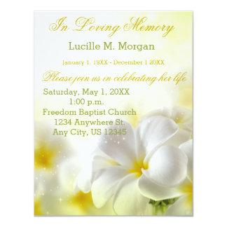 Ceremonia conmemorativa floral amarilla del invitación 10,8 x 13,9 cm