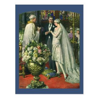 Ceremonia de boda de la iglesia del vintage; Novia Postal
