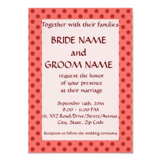 Ceremonia de boda - lunares rojos, fondo rosado comunicados personales