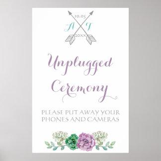 Ceremonia desenchufada muestra del boda, flor póster