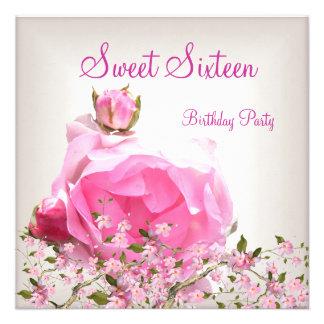 Cereza bonita Bossom de las flores del rosa del du Invitacion Personal