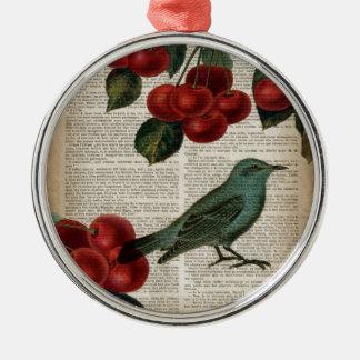 cereza botánica del rojo del arte del pájaro del adorno navideño redondo de metal