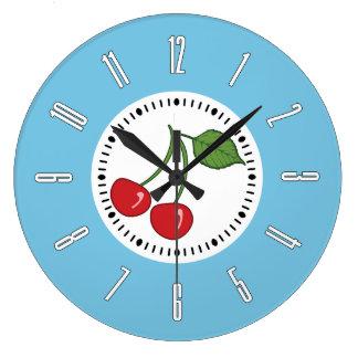 Cereza retra azul reloj redondo grande