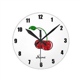 Cereza roja conocida personalizada del brillo reloj redondo mediano