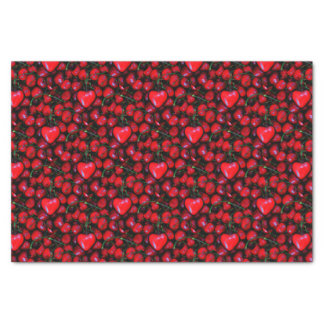 cerezas con amor del corazón papel de seda