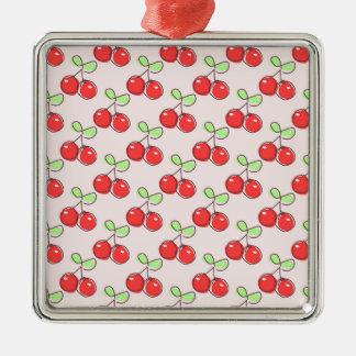 Cerezas dibujadas mano, modelo rosado de la fruta ornamentos de reyes