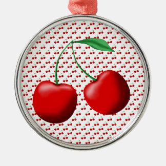 Cerezas dulces adorno redondo plateado