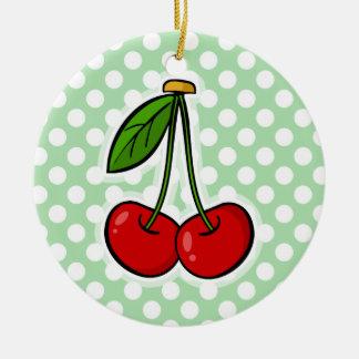 Cerezas en lunares del verde del Celadon Ornamentos De Navidad