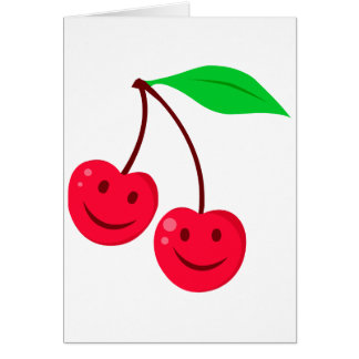 cerezas felices sonrientes de la cara tarjeta de felicitación