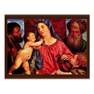Cerezas Madonna por Tizian (la mejor calidad) Postal