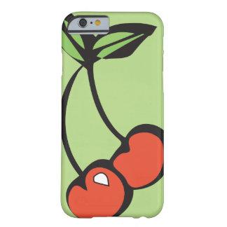 Cerezas rojas brillantes con iPhone verde de las Funda Barely There iPhone 6