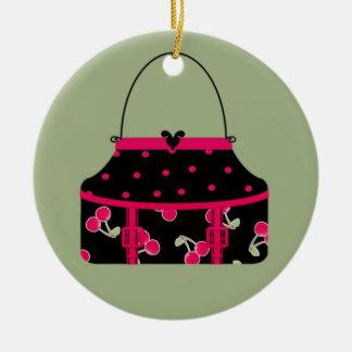 Cerezas y ajuste negros de las rosas fuertes del adorno navideño redondo de cerámica