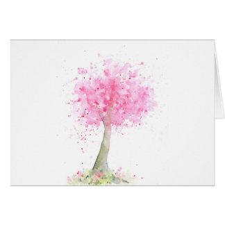 Cerezo rosado de la acuarela tarjeta de felicitación