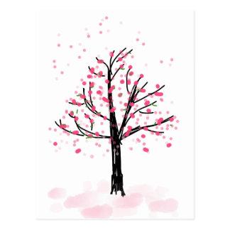 Cerezo rosado menudo - bosquejo dibujado mano postal