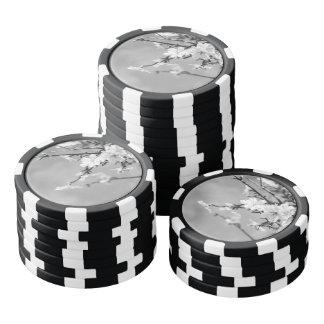 Cerezos blancos y negros de la primavera juego de fichas de póquer