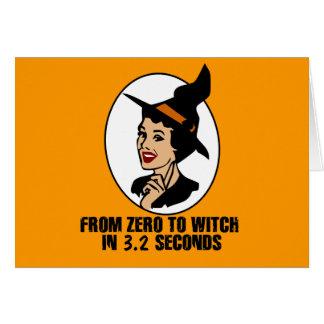 Cero al estilo de los años 50 de la bruja (color) tarjeta de felicitación