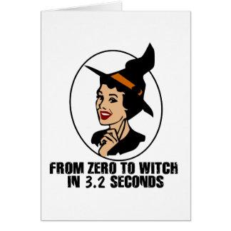 Cero al estilo de los años 50 de la bruja (color) tarjeta pequeña