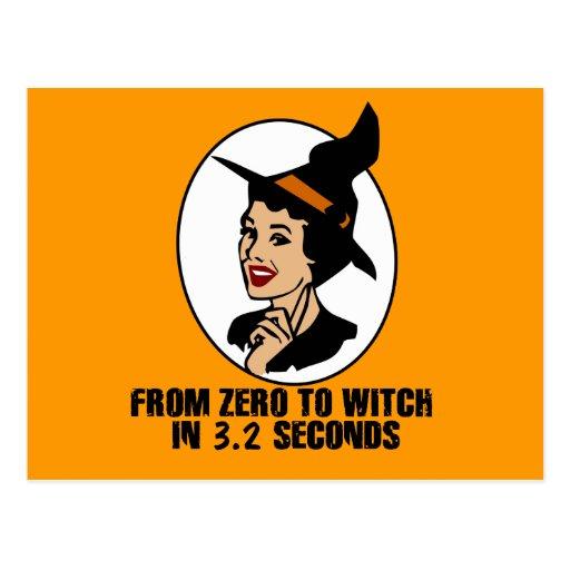 Cero al estilo de los años 50 de la bruja (color) postales