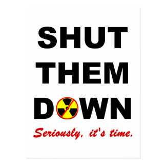 Cerrado les abajo de lema antinuclear postal