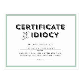 Certificado de aguamarina de //de la postal de la
