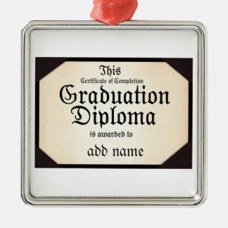 Certificado de diploma de la graduación de la adorno cuadrado plateado