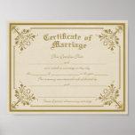 Certificado de impresión del arte de la boda