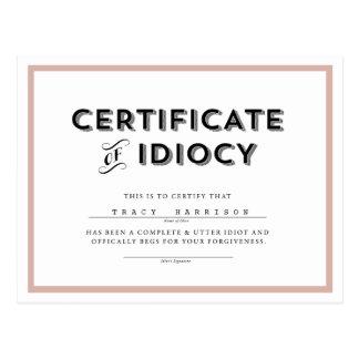 Certificado de rosa de //de la postal de la