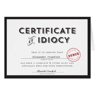 Certificado de tarjeta de la disculpa de la