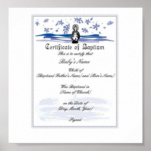 Certificado del bautismo del bebé - muchacho poster