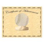 Certificado del béisbol de logro tarjetas informativas