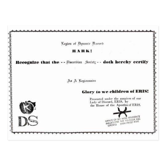 certificado del legionario postal