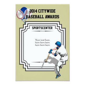 Certificado del premio del béisbol invitación 8,9 x 12,7 cm