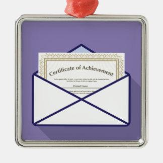 Certificado en vector del sobre adorno navideño cuadrado de metal