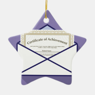 Certificado en vector del sobre adorno navideño de cerámica en forma de estrella